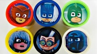 getlinkyoutube.com-Learn Colors PJ MASKS Disney Jr. Owlette, Catboy, Gekko, Romeo Playdoh Toy Surprises / TUYC