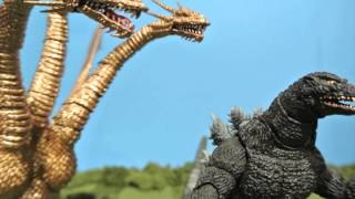getlinkyoutube.com-Godzilla Vs. King Ghidorah Stop motion