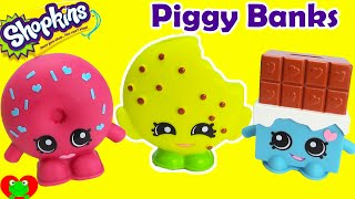 getlinkyoutube.com-Shopkins Piggy Banks with Cheeky Chocolate, Kooky Cookie, and D'lish Donut