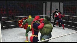 getlinkyoutube.com-WWE 2K14 | Spiderman vs Deadpool vs Hulk vs Flash vs Iron Fist vs Venom