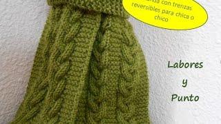 getlinkyoutube.com-Como tejer una bufanda para hombre o mujer con trenza triple reversible en dos agujas