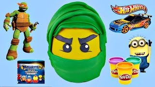getlinkyoutube.com-LEGO Ninjago GIANT Play Doh Egg Surprise | Superhero Mashems TMNT Hot Wheels X-Men CARS