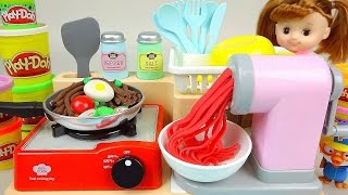 getlinkyoutube.com-Play Doh noodle spaghetti cooking toy and Kinder Joy Surprise eggs Baby Doll toys