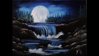 getlinkyoutube.com-Moon River Step by Step Acrylic Painting on Canvas for Beginners