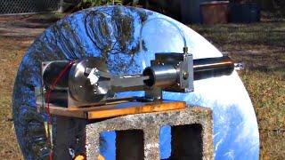 getlinkyoutube.com-Large Stirling Engine Water Cooled Parabolic Mirror Solar Power Electric Generator