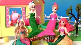 getlinkyoutube.com-Transformando Frozen Princess Anna & Elsa em Mermaids Play Doh com a Barbie Mermaid Ariel