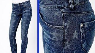"""getlinkyoutube.com-DIY: Jeans con estampado """"bleached"""" de estrellas"""