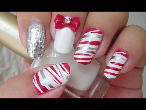 Christmas Nail Art Candy Cane Can-Can (by China Glaze) - Decoración de Uñas Bastón de Menta