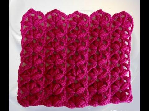 Crochet punto fantasia -  abanicos en crochet -  punto puff en crochet