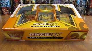 getlinkyoutube.com-Pikachu EX Red & Blue Collection Box Opening