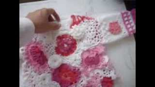 getlinkyoutube.com-Irish lace crochet dress for 1 to 2 years old baby girl