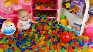 getlinkyoutube.com-Baby Doll refrigerator toy and Orbeez Kinder Joy Surprise eggs
