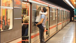 getlinkyoutube.com-Kissing Prank - Kissing Girls at Czech SUBWAY!! (GONE HOME)