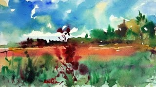 "getlinkyoutube.com-How to Paint a Watercolor Landscape Demo ""Summer"" by Mikko Tyllinen"