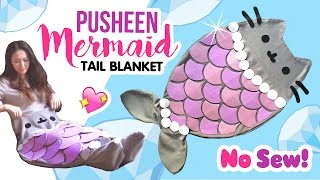 getlinkyoutube.com-DIY Pusheen Mermaid Tail Blanket!! NO SEW Tutorial!
