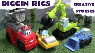 getlinkyoutube.com-Thomas and Friends Play-Doh Diggin Rigs Accident Crash Rescue Stories Bus Helicopter Fire Engine