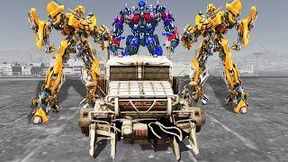 Grand Theft Auto V - Bumblebee, Optimus Prime vs Megatron - GTA 5 TRANSFORMERS MOD