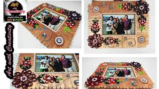 How to make photo frame | popscile stick & card board | DIY | Art with Creativity