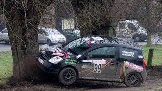 Rallye du Hannut 2013 with crashes on very slippery roads