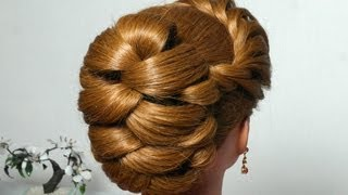 getlinkyoutube.com-Hairstyle for long hair with twist braid. Updo tutorial