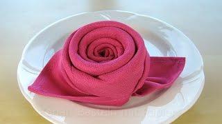 getlinkyoutube.com-Servietten falten Rose / Blüte / Blume - Einfache DIY Tischdeko basteln - Hochzeit