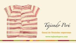 getlinkyoutube.com-Chaqueta con manga raglan para niña de 6 a 9 meses tejida en dos agujas o palillos