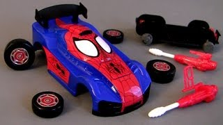 getlinkyoutube.com-Ridemakerz Spiderman Xtreme Custom Car Starter Kit From Marvel how-to Buildable Toys Review