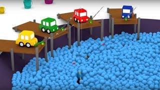 getlinkyoutube.com-Развивающий 3D мультфильм. Четыре машинки. Детская рыбалка. Мультфильмы для детей.