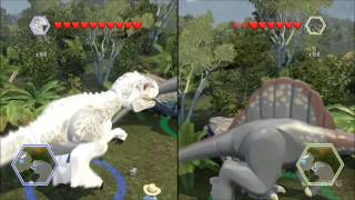 getlinkyoutube.com-LEGO Jurassic World - Indominus Rex vs Spinosaurus - CoOp Fight | Free Roam Gameplay [HD]