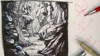 getlinkyoutube.com-Pen and Ink Drawing Tutorials | How to draw a Valley Gorge landscape scenery