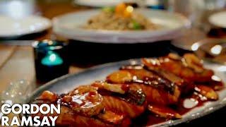 getlinkyoutube.com-Teriyaki Salmon with Soba Noodle Salad   Gordon Ramsay