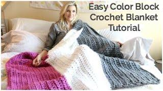 getlinkyoutube.com-Easy Color Block Crochet Blanket