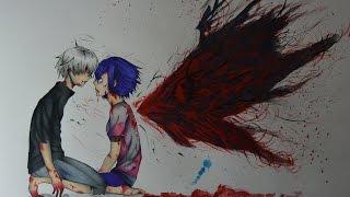 getlinkyoutube.com-Drawing Kaneki and Touka- Tokyo Ghoul