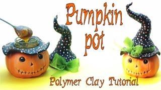 getlinkyoutube.com-Pumpkin Pot- Polymer clay- tutorial- Halloween