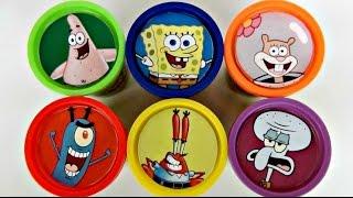 SPONGEBOB Squarepants Playdoh Toy Suprises, Learn Colors with Patrick, Sandy, Mr. Krabs / TUYC