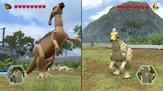 getlinkyoutube.com-LEGO Jurassic World - Parasaurolophus vs Corythosaurus - CoOp Fight | Free Roam Gameplay [HD]