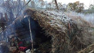 getlinkyoutube.com-2 NIGHTS DEBRIS SHELTER CAMP AT -5 DEGREES