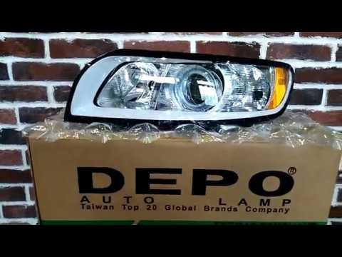 Вольво S40 V50 Volvo S40 V50 Фара передняя с регулятором мотора внутри серебристо серая Depo