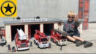 getlinkyoutube.com-BRUDER TOY TRUCKS new FIRE DEPARTMENT in Jack's BWORLD filmed in 4K