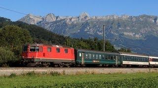 """getlinkyoutube.com-Die SBB im Rheintal : Ae 610 496 -2 """"Stadt Wil"""", Re 4/4 II, Thurbo und ÖBB Railjet am 18.08.12"""