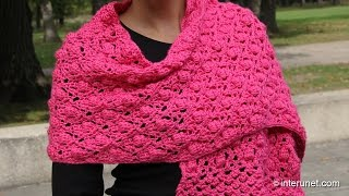 getlinkyoutube.com-Shawl crochet pattern - acorn and raspberry stitch combination