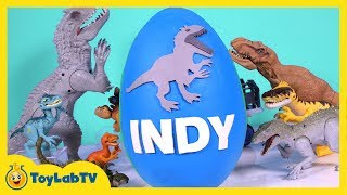 getlinkyoutube.com-HUGE Jurassic World Play Doh Surprise Egg Indominus Rex, T-Rex, Surprise Toys & Dino Fossil Kit