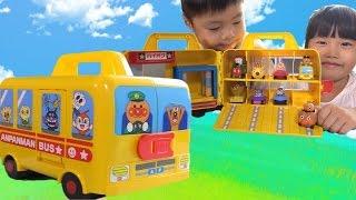 getlinkyoutube.com-アンパンマン おもちゃ バス ゴーゴーミニカー おでかけミニカーバス のりもの 収納 Anpanman Vehicle  Storage box Toy