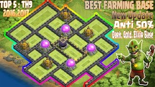 getlinkyoutube.com-TOP 5 Th9 Best Farming base 2017. Town Hall 9 Anti 50% Gold, Dark, Elixir Base