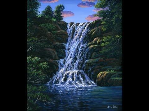 Lekcja malarstwa: Wodospad pomocą akryl na płótnie