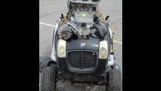 350 SMALL BLOCK CHEVY IN LAWN MOWER START UP*MONSTER MOWER,CRAZY,SICK INSANE