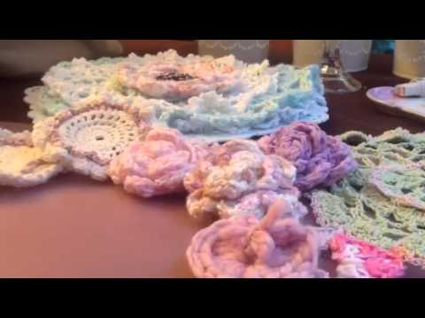 Crochet hearts butterflies, flowers, and doilies