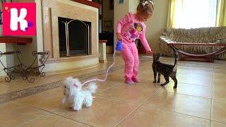 getlinkyoutube.com-Кошечка Пушинка распаковка игрушки гуляем с кошечкой играем с котиком White cat on the leash toy