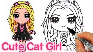 getlinkyoutube.com-How to Draw a Cute Girl in Cat Costume step by step - Kitty Costume