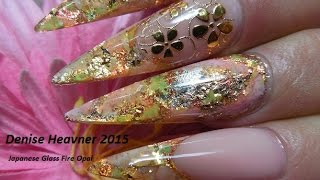 getlinkyoutube.com-Fire Opal Nails ----------------Simulated Japanese  Fire Opal on Nails
